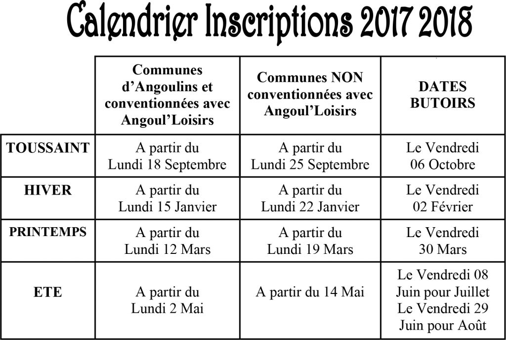 calendrier inscriptions 2017 2018